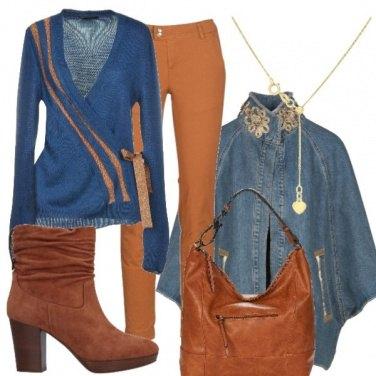 Outfit Maglia blu e marrone