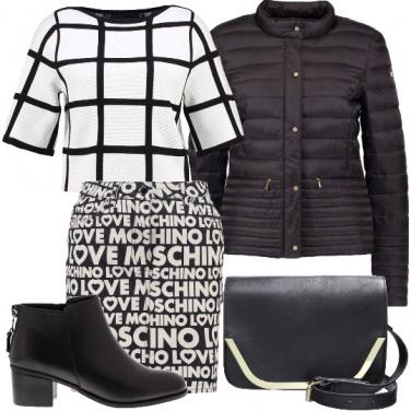 Outfit Felpa a maxi quadri