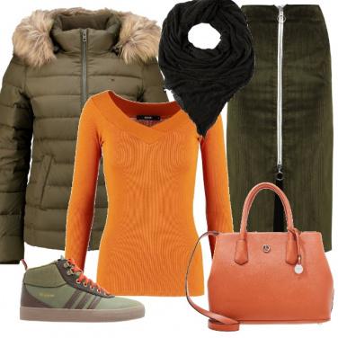 Outfit Arancio e kaki
