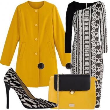 Outfit Bianco, nero e giallo
