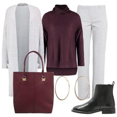 Outfit Borgogna e grigio