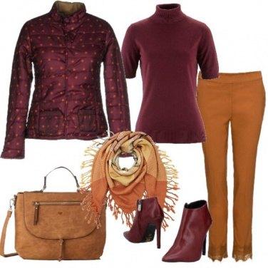 Outfit Bordeaux e cognac