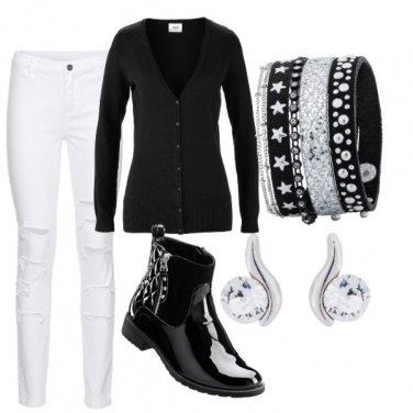 Outfit Casual chic: black /white