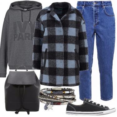 Outfit Al liceo con cappotto nuovo