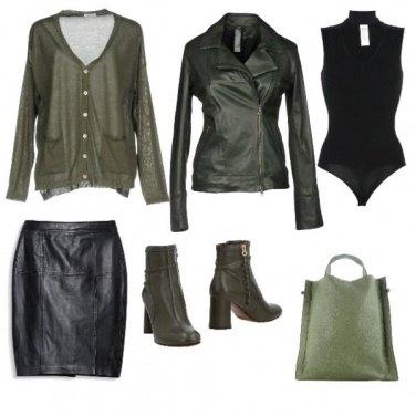Outfit Verde e nero in pelle