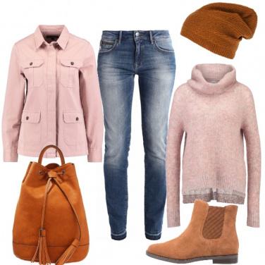 Outfit Rosa e cognac