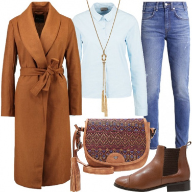 Outfit Azzurro e cognac