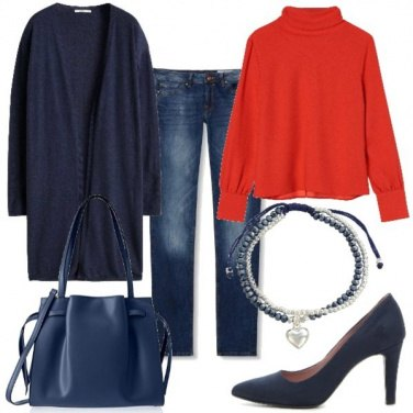 Outfit Blu e rosso everyday