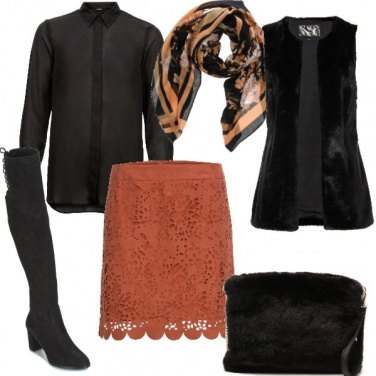 Outfit Nero ed ecopelle