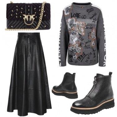 Outfit Pelle e felpa