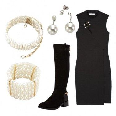 Outfit Classico nero e perle