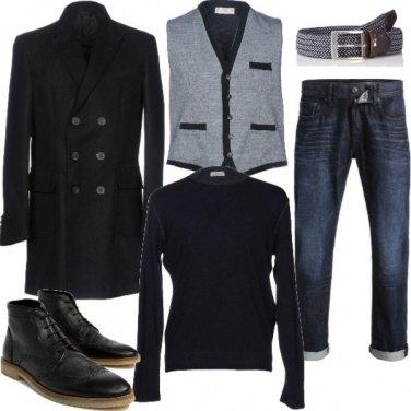 Outfit Pullover e gilet sotto il cappotto