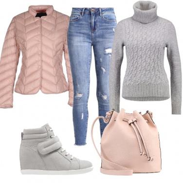 Outfit A scuola in rosa e grigio