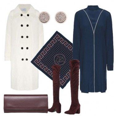 Outfit Vestito blu in seta caban avorio
