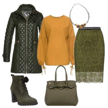 Outfit Verde oliva e giallo senape