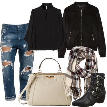 Outfit Bomber e stivaletti