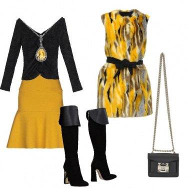 Outfit Serata in ocra e nero