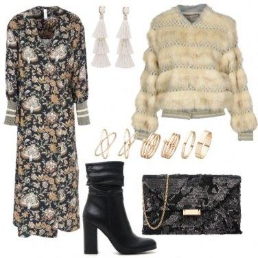 Outfit Per la sera bomber e vestito floreale