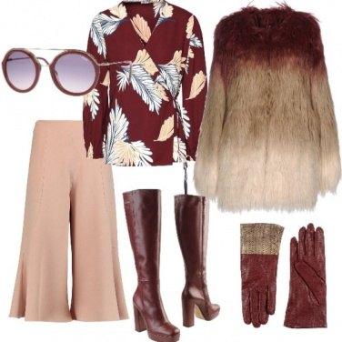 Outfit Guanti ed ecopelliccia anni 70