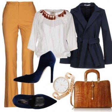Outfit Ispirazione senape e blu