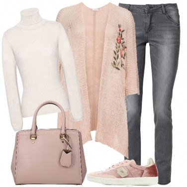 Outfit Il cardigan ricamato