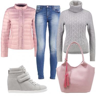 Outfit Borsa rosa con nappine