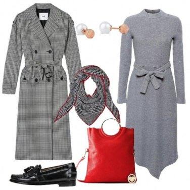 Outfit Trench pied de poule e mocassino