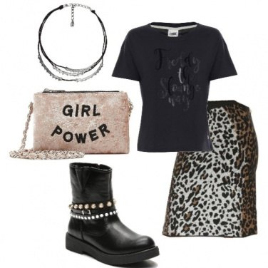 Outfit T-shirt sportiva e gonna animalier