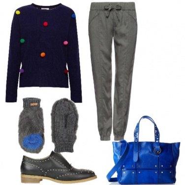 Outfit Maglione a pois colorati