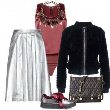 Outfit Gonna di jeans color argento
