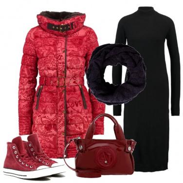 Outfit Sportiva in rosso e nero