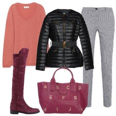 Outfit Il pullover rosa pesca