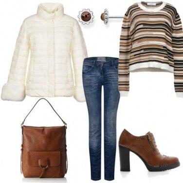 Outfit Piumino con pelliccia