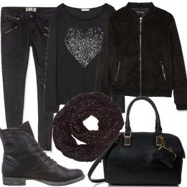 Outfit Casual con un total black