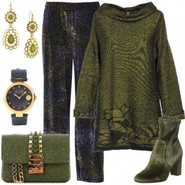 Outfit In verde e blu
