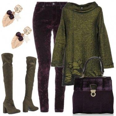 Outfit Viola e verde salvia