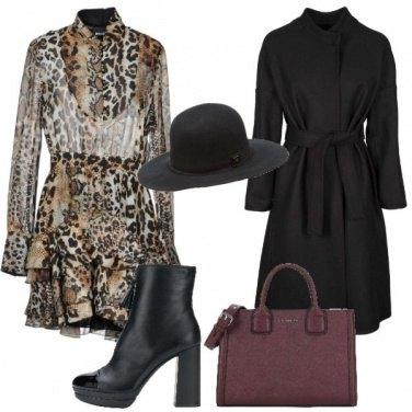 Outfit Abito leopardato e tronchetto