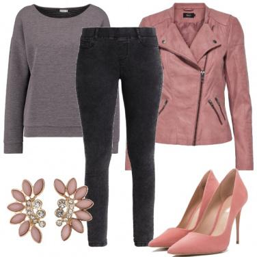 Outfit Grigio e rosa chic