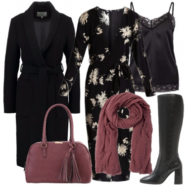 Outfit Bianco nero e un tocco di rosa