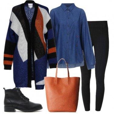 Outfit Cardigan a blocchi di colore