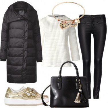 Outfit Sneakers in pelle color oro