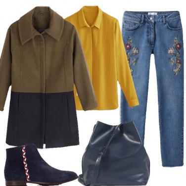 Outfit Blu e senape