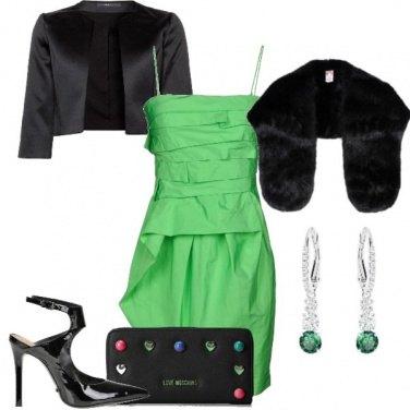 Outfit Chic in verde e nero