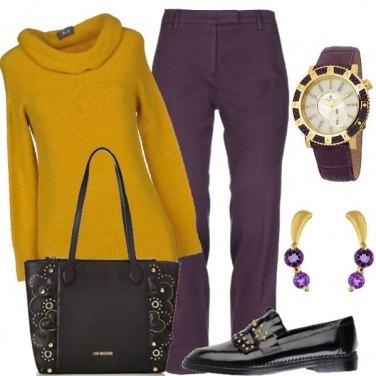 Outfit Senape e viola