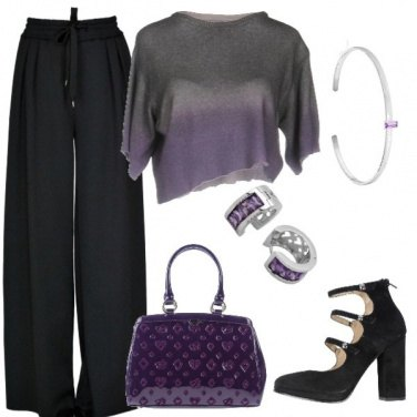 Outfit Viola e nero