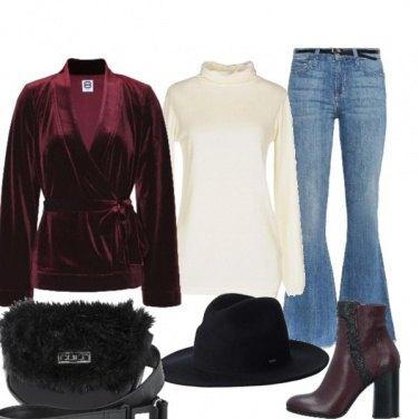 Outfit Blazer di velluto e jeans vita bassa