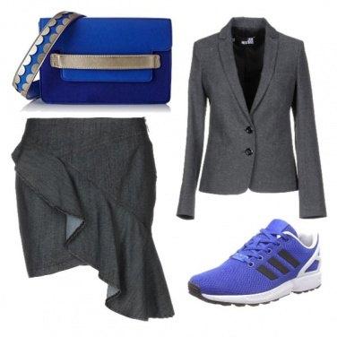 Outfit Blue e grigio, elegante e casual