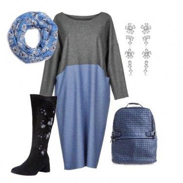 Outfit Gli stivali coi fiori azzurri