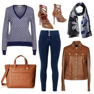 Outfit Blu e cognac