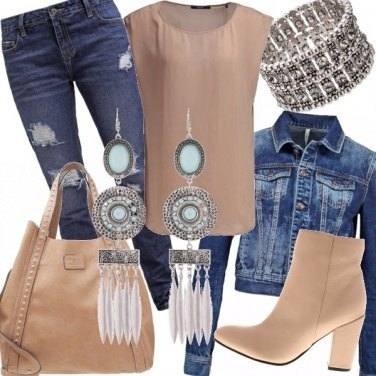 Outfit Nude and denim